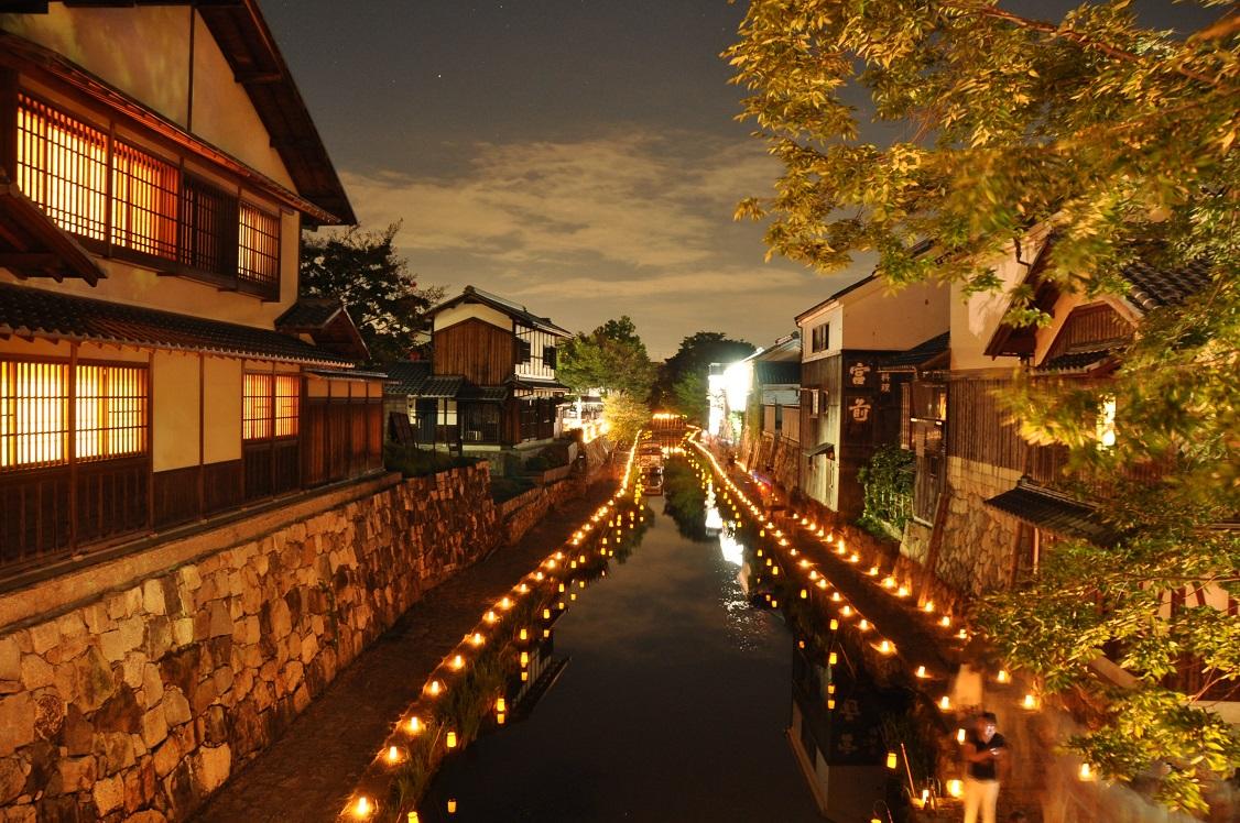 【10/13・14】八幡堀まつりのライトアップで風情ある夜を堪能!