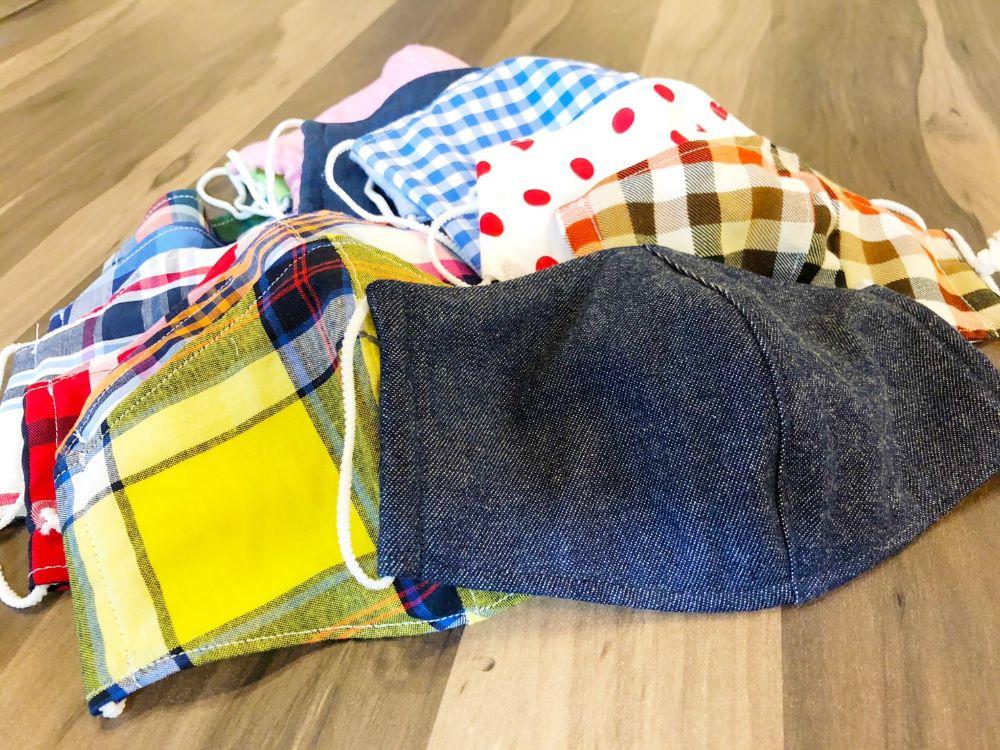 子どもたちのために、スーツ・シャツの切れ端で作ったオリジナルマスクをお届け