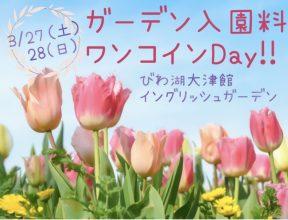 【3/27(土)28(日)】ガーデン入園料ワンコインデー!!【びわ湖大津館】桜&チューリップフェアも開催★